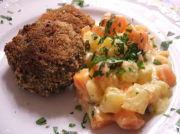Fleisch: Panierte Fleischküchle mit cremigem Rübengemüse - Rezept