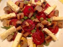 Tomaten-Mais-Salat mit Schwarzwurzeln und Brie - Rezept