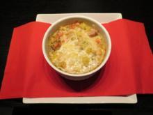 Überbackener Wintereintopf mit Fleisch, Kartoffeln und Bohnen - Rezept