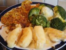 Fischfilet im Bierteig, Spaghettikartoffelkröstie und Brokkoliröschen - Rezept