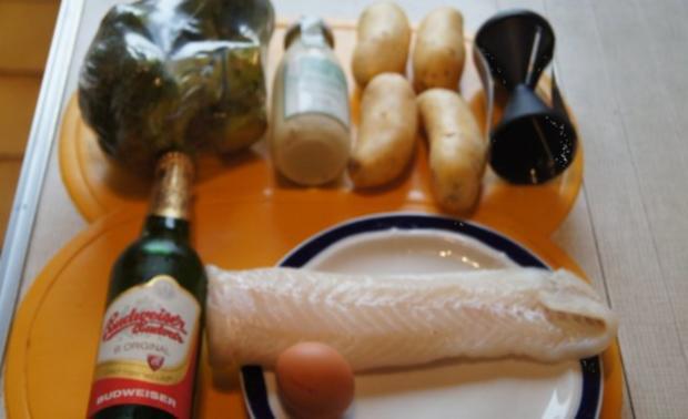 Fischfilet im Bierteig, Spaghettikartoffelkröstie und Brokkoliröschen - Rezept - Bild Nr. 2