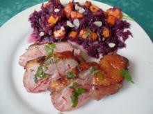 Entenbrust mit Mango-Rotkraut-Salat und Safran -Vinaigrette - Rezept