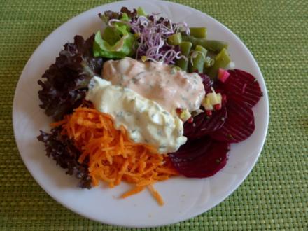 Salat : Bunt gemischt ... köstlich und gesund ... mit zweierlei Budwig - Dip´s - Rezept