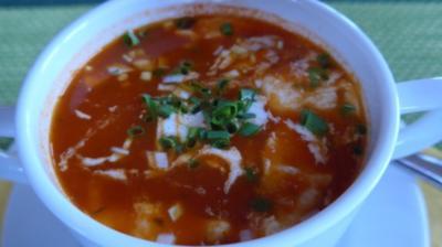 Suppen & Eintöpfe :  Heiße Tomaten - Karotten - Suppe mit Schafskäse - Rezept