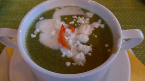 Suppen & Eintöpfe :  Spinat - Suppe mit Schafskäse - Rezept