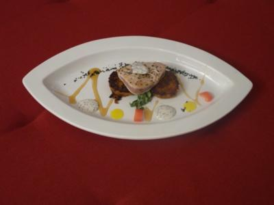 Thunfischfilet mit Süßkartoffel-Bratling - Rezept