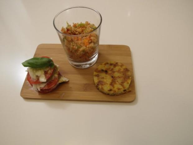 Bulgur Salat, Tomaten-Mozzarella Turm und Tortilla - Rezept