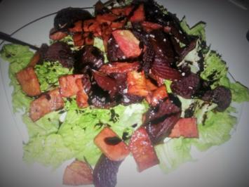 Gebackene Knollen auf Salatbett - Rezept