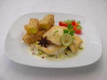 Rezept: Couscous-Stäbchen zu gebratenem Zanderfilet an Limettensauce