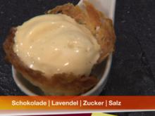 Schokosüppchen mit Lavendel- und Karamelleis - Rezept
