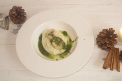 Jakobsmuscheln an Blumenkohlpüree und Rucola-Pesto - Rezept