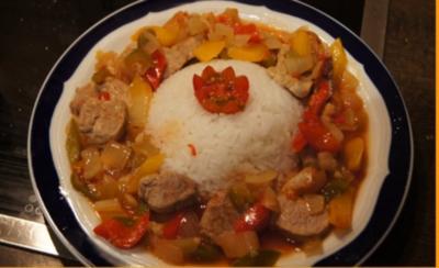 Pilaff serbischer Art im Römertopf mit Reis - Rezept