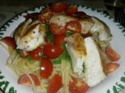Pesto-Spaghetti mit Hänchenstreifen & Cocktailtomaten - Rezept