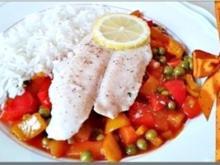 Pangasiusfilet auf süß-sauer Gemüse mit  Basmati Reis - Rezept