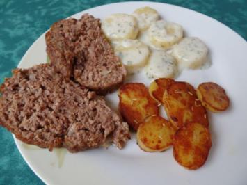 Hackbraten mit zwei Kartoffel -Varianten (Bechermel-Kartoffeln & Rosmarin-Kartoffeln ) - Rezept