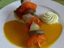 Gemüsespieß an Kürbissoße - Rezept