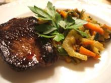 Geflügel: Straußensteaks mit buntem Gemüse aus dem Wok - Rezept