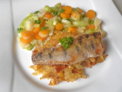 Zanderfilet auf Steckrüben - Kartoffel - Rösti ... - Rezept