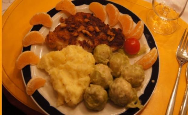 Schollenfilet -Finkenwerder Art- mit Rosenkohl und Kartoffelstampf - Rezept