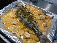 Wolfsbarsch aus dem Ofen mit Kartoffeln - Rezept