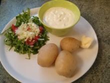 pellkartoffeln,leinölquark,rucolasalat--auf die rasche zum mittag -nix besonderes - Rezept