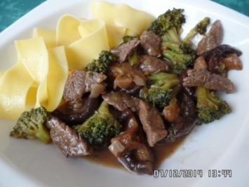 Rindfleisch-Streifen mit Bandnudeln - Rezept