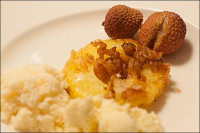 gebackene Ananas mit Lychee- und Kokoseis, Desert - Rezept