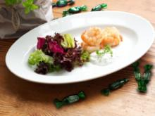 Gegrillte Riesengarnelen mit Bimenthol-Kräutersauce und Salatbouquet - Rezept