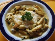 Hähnchenbrustfiletgeschnetzeltes in Curry-Sahne mit Selleriepüree - Rezept