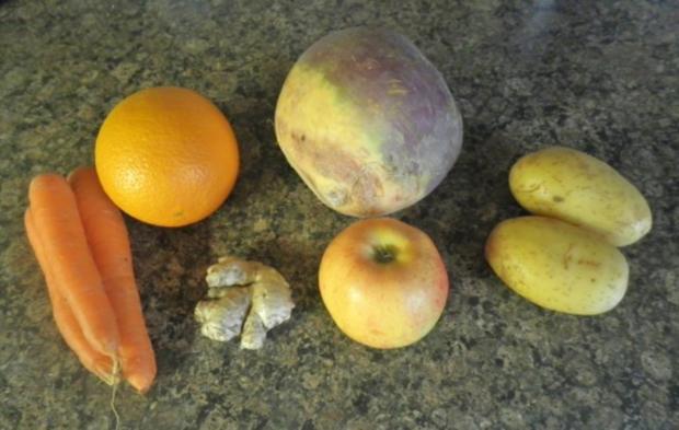 Karotten - Orangen - Mousse, Steckrüben - Apfel - Creme und karamellisierte Kartoffelchips - Rezept - Bild Nr. 3