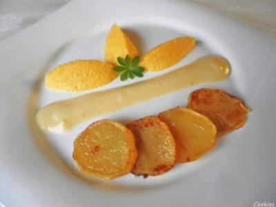 Karotten - Orangen - Mousse, Steckrüben - Apfel - Creme und karamellisierte Kartoffelchips - Rezept