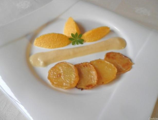 Karotten - Orangen - Mousse, Steckrüben - Apfel - Creme und karamellisierte Kartoffelchips - Rezept - Bild Nr. 12