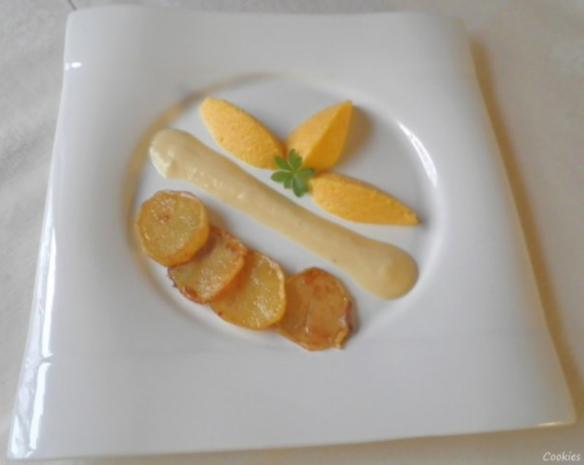 Karotten - Orangen - Mousse, Steckrüben - Apfel - Creme und karamellisierte Kartoffelchips - Rezept - Bild Nr. 2