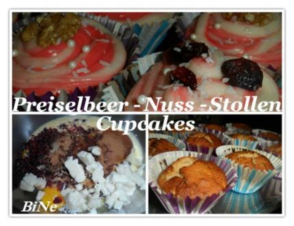 BiNe` S PREISELBEER - NUSS - STOLLEN CUPCAKE - Rezept