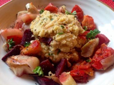 Polenta mit Gemüse aus dem Bratschlauch - Rezept