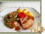 Kalbsbraten mit Mini Knackerbsen und tournierten Kartoffeln dazu - Rezept