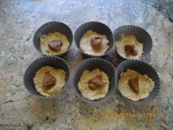 Rezept: Nuß Kokos Muffins mit Nugat gefüllt