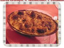 Kartoffeln: Kartoffelauflauf mit Hackfleischbällchen und Erdnusssoße - Rezept
