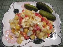 Gewürfelter - Geschüttelter - Kartoffelsalat mit Ziegenkäse - Rezept