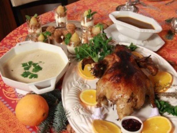 Weihnachtsmenü mit Maronensuppe, Ente mit Orangensauce und Spekulatiuscreme - Rezept