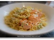 Linguine mit Käse-Schnittlauch-Sauce und Lachs - Rezept