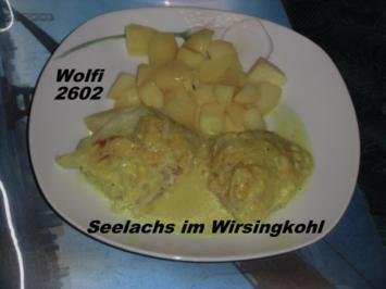 Fisch - Seelachs in Wirsingkohl mit Currysoße - Rezept