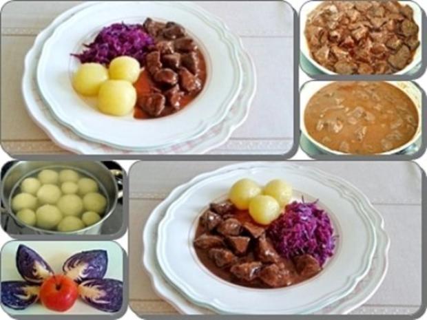 Hirschgulasch mit Rotkohl und Kartoffelklößen - Rezept - Bild Nr. 21