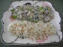 Champignon - Lauch in Kokosmilch mit Petersilie an Naturreis - Rezept