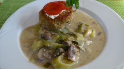 Veggi´s - Heiliges Abendmahl : Hauptgang : Pilz / Lauch mit Bratlingen - Rezept