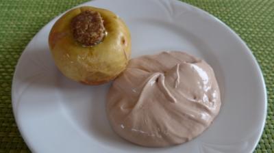 Veggi´s - Heiliges Abendmahl : Dessert : Nuss - Bratapfel mit Schoko-Budwig-Quark - Rezept
