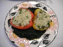 Veggi´s Weihnachtsessen : Gefüllte Paprikahälften auf Blattspinat - Rezept