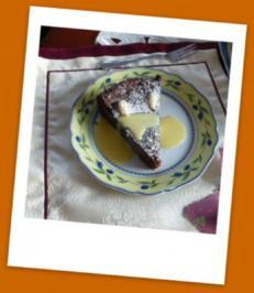 Schokoladen-Mandel-Kuchen mit Vanillesauce - Rezept
