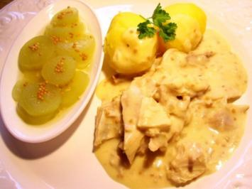 Suppenhuhn in Senfsoße - Rezept