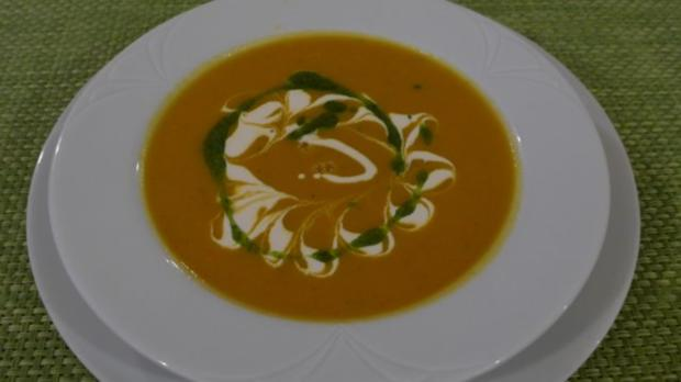 Kürbis - Sellerie - Suppe mit Minzöl - Rezept